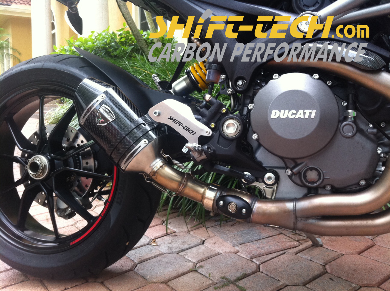 shift-tech monster evo1100 gp stage2 carbon slip-on - ducati.ms