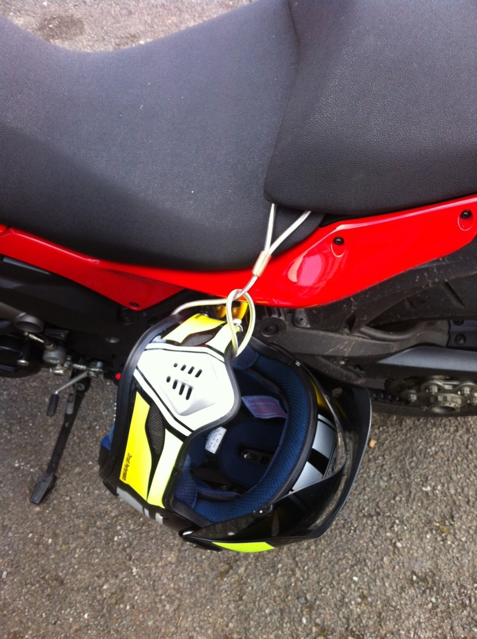 Bike Cable Lock >> My home made helmet lock and a Ducati alarm question ...