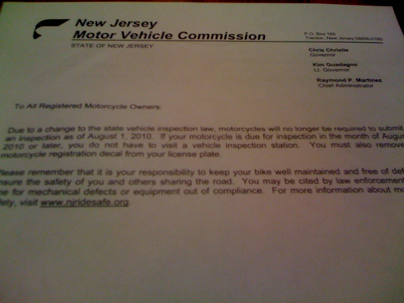 Nj Vehicle Inspection >> Nj Motor Vehicle Commission No More Moto Inspections Ducati Ms