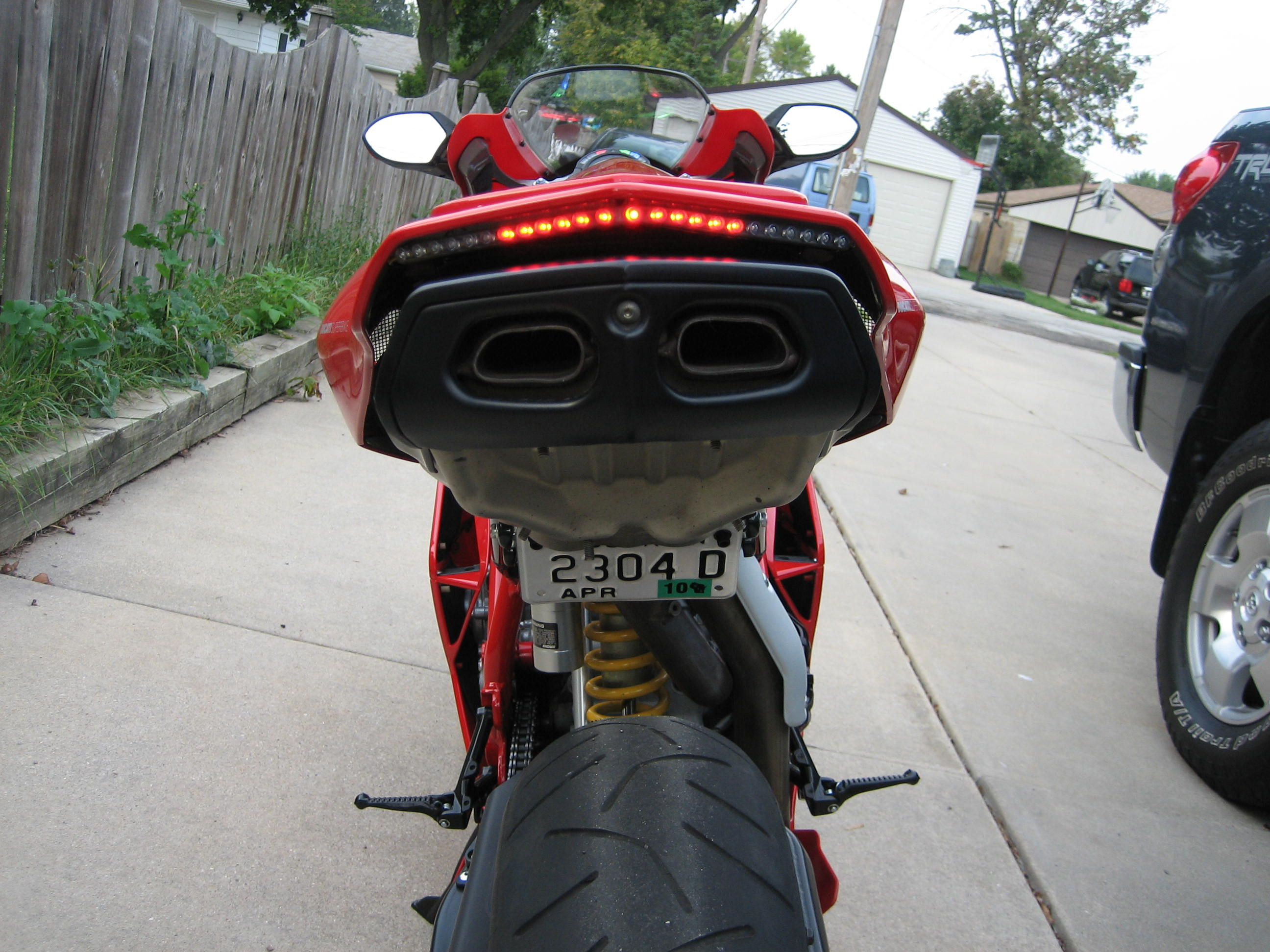 Custom LED Tail Light And License Plate Bracket Installed Today - Ducati 999 tail light wiring