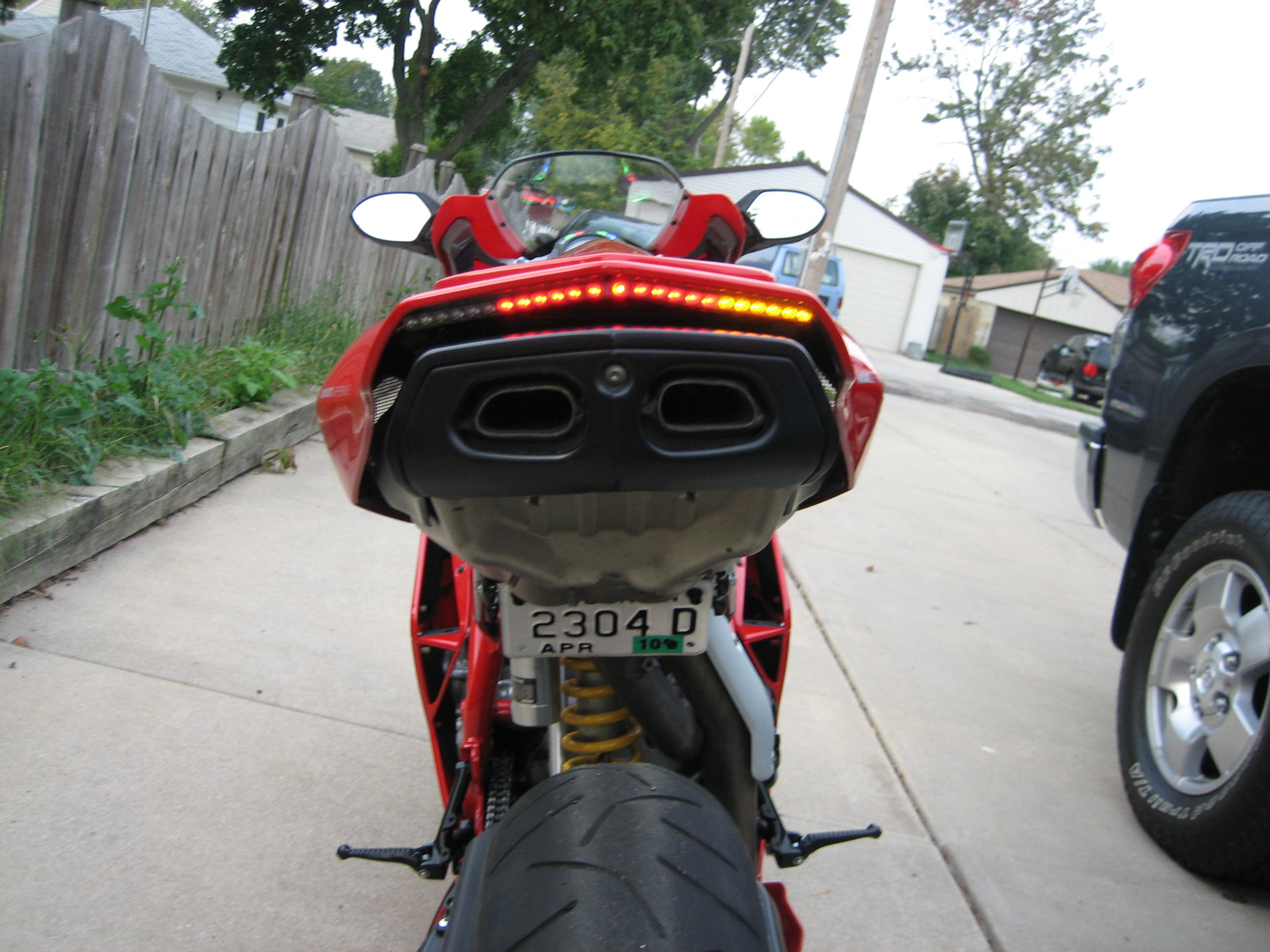 custom led tail light and license plate bracket installed