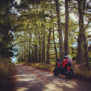 Ducati Multistrada 1200S Touring near Pescadero Reservoir road