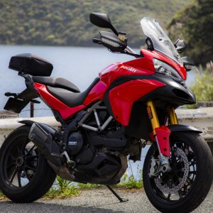 Right side, Bob's Ducati Multistrada 1200S Touring near Bean Hollow state beach